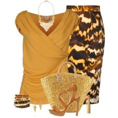 Gold and brown patterned skirt with gold top, shoes, and accessories for sexy DYT Type 3 style.