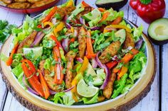 This Chili-Lime Fajita Salad is Bursting with Flavor! (Clean Eating Approved) - A tangy spin on Taco-Tuesday, and it comes together FAST! Makes about 4 servings Ingredients: Marinade: 3 Tbsps avocado oil, or olive oil juice from 1 large fresh lime 2 Tbsps fresh cilantro or parsley, chopped ½ tsp red chili flakes (adjust to your own taste of spiciness) ½ tsp ground cumin 1...