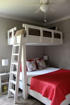 Bunk beds. Twin over Queen in guest room at Lake Blackshear Cottage  Wall color:  BM - Thunder AF685 VRBO #716597