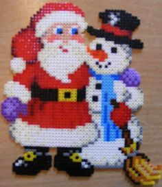Santa and a snowman - Christmas hama beads by ki-vi Melty Bead Patterns, Pearler Bead Patterns, Perler Patterns, Beading Patterns, Hama Beads Design, Diy Perler Beads, Perler Bead Art, Hama Mini, Christmas Perler Beads