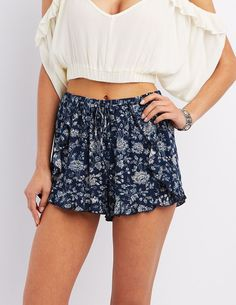 Blue Floral Print Ruffle Shorts by Charlotte Russe