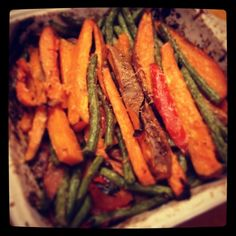 Roasted Sweet Potatoes, Red Peppers & Onions - olive oil, garlic cloves, sweet potatoes, red peppers, yellow onions, fresh green beans, chili pepper, lemon zest, fresh Parmesan cheese