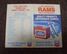 RARE VINTAGE 1973 LOS ANGELES RAMS NFL FOOTBALL SCHEDULE BY CHEVRON. please retweet