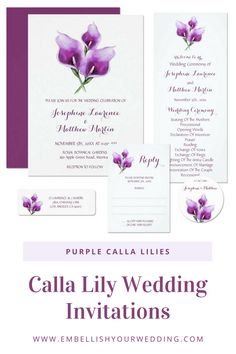 Purple calla lilies wedding invitations featuring a watercolor floral lily design and monogram on the back of the invitations. Visit our website to see the full range of matching wedding stationery that you can personalize for your wedding day. #wedding #weddings #weddinginvitations #weddinginvites #weddingstationery #weddinginvitationsuite #purplewedding #purpleweddinginvitations #callalilywedding #purplecallalilyweddinginvitations #callalilyweddinginvitations