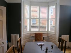 Plantation Bay Window Shutters Fitted in Southampton by Shuttersouth Bay Window Shutters, Bay Windows, Shutter Designs, Shutter Blinds, Southampton, Bungalow, New Homes, Curtains, Room