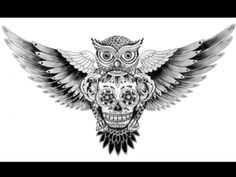 Complex owl and skull tattoo sketch...this would be beautiful on the chest or back