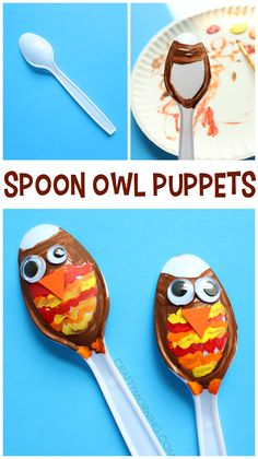 Plastic spoon owl puppets - cute fall craft for kids to make!