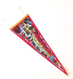 Arizona Souvenir Pennant, Large Vintage Souvenir Felt Flag by planetalissa on Etsy