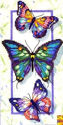 Dimensions Stamped #crossstitch BUTTERFLY TRIO #DIY #needlework #crafts #decor #crossstitching