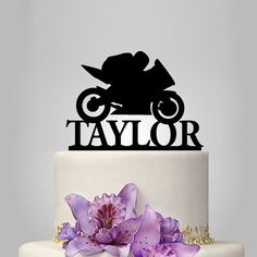 Personalized Acrylic Motorcycle Wedding Cake Topper