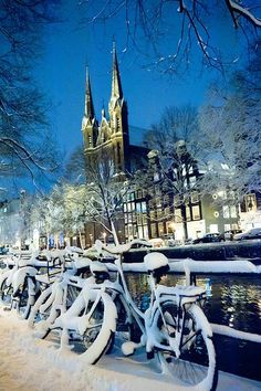 Winter in Amsterdam, by night, #Holland #travel #Amsterdam