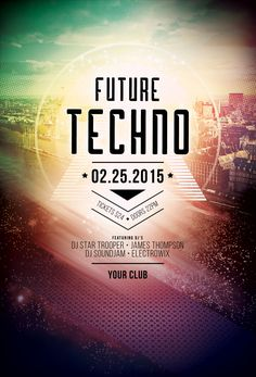 Future Techno Flyer Template. Download PSD File   $6 · Poster Design  InspirationDesign ...