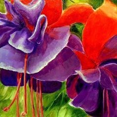 Fuchsia, 9045, original floral painting -- Carol Nelson.  Oil