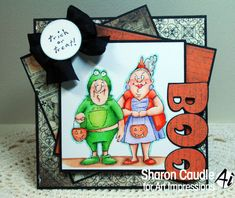 Art Impressions Rubber Stamps: Halloween Trick or Treat Set (Sku#4524) Handmade card.