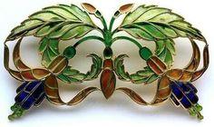 René BEAUCLAIR Art Nouveau Fuchsia Brooch Gilded silver Plique-à-jour enamel  French, c.1900