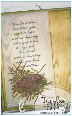 Tammy Tutterow | True Love Letter Card featuring Tim Holtz Distress Ink, Markers, Stamps, and Layering Stencils.