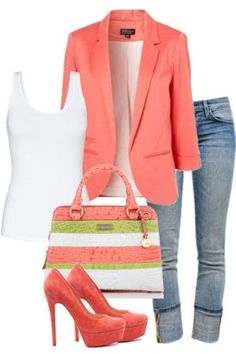 Coral Boyfriend Jacket w/ Jeans & Pumps <3 L.O.V.E.