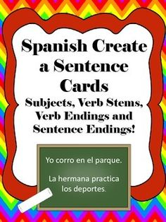 Spanish sentence parts cards for students to practice conjugating verbs and making simple sentences. Great for hands-on practice or games!