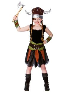 Girls Viking Saxon Warrior Costume World Book Day Week Norse Fancy Dress Outfit