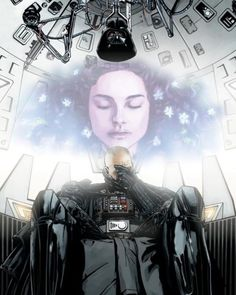 Darth Vader grieving over his wife's death (technically by his hand). I found it here [link] Darth Vader & Padme Amidala (c) George Lucas Vader's Remorse Darth Vader, Anakin Vader, Anakin And Padme, Anakin Skywalker, Star Wars Art, Star Trek, Fear Leads To Anger, Star Wars Personajes, Heavy Metal