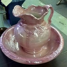 Pretty pink wash bowl and pitcher.