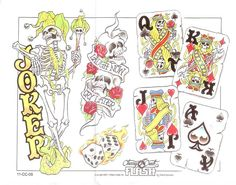 Gambling poker cards tattoo flash art