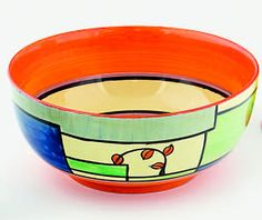 Clarice Cliff bowl, decorated in the branch and square pattern.