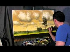 Cool<3 A Gold Balance - Time Lapse Speed landscape cloud painting by Tim Gagnon, trees and fields...