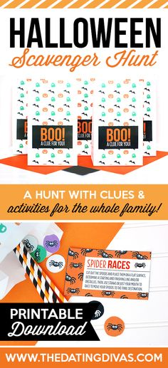 Printable Clues and Activities for a Halloween Scavenger Hunt from The Dating Divas! Fun fall family activity!!