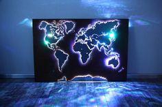 beleuchtete Weltkarte Wand Dekoration aus Edelstahl RBG LED DIY  Home deco