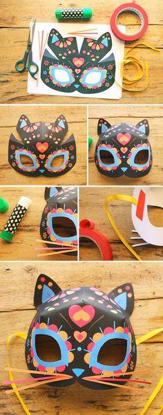 Easy to make cute sugar skull cat masks
