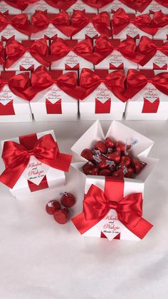 Chic wedding favor gift boxes with red satin ribbon bow and names, Elegant personalized bonbonniere for candies or small souvenirs to thank guests. #welcomebox #giftbox #personalizedgifts #weddingfavor #weddingbox #weddingfavorideas #bonbonniere #weddingparty #sweetlove #favorboxes #candybox #elegantwedding #partyfavor #weddingwelcome #redwedding #uniqueweddingfavors #uniqueweddingideas Wedding Favor Boxes, Unique Wedding Favors, Unique Weddings, Personalised Box, Personalized Gifts, Red Wedding, Elegant Wedding, Candy Boxes, Wedding Welcome