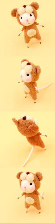Handmade Needle felted felting animal constellation cute mouse mice Leo felted wool doll