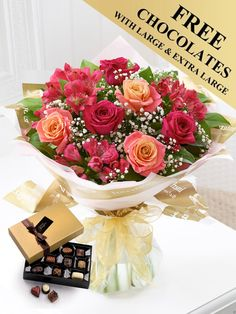 Featuring peachy pink large headed roses, cerise alstroemeria and cerise large headed roses with white gypsophila and salal, wrapped and trimmed with a gold voile ribbon and presented in gift packaging. Order Flowers, Send Flowers, Summer Flowers, Wedding Flowers, Mothers Day Flowers, Gypsophila, Summer Sunset, Flower Delivery, Gift Packaging