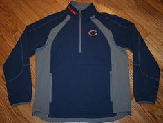 Chicago Bears Football half-zip Pullover microfiber jacket Men's Large golf top #ChicagoBears