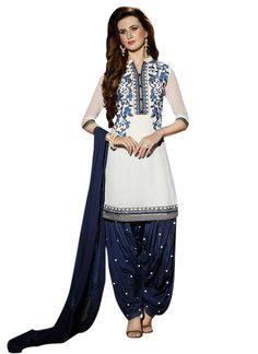 Off White Georgette Patiala Suit