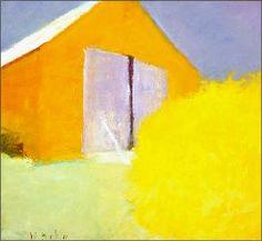 "Square Orange Barn Painting, 2005  oil on canvas  22"" x 24"""