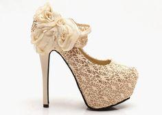 Party Lace High Heel Faux Rose Design Women's Pumps