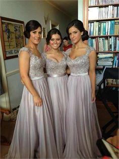 2014 Silver Column Floor-Length  V-Neck Sashes Lace Chiffon Bridesmaid Dresses ABN031