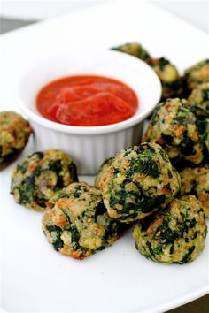 I've made these for years so going to go ahead and put the recipe here. I use stove top stuffing and flatten mine a little to make them crispier. We've never served with dipping sauce either. Fantastic and the kids liked them when they were little. One of those, get the kids to eat veggies recipes// Spinach spinach spinach spinach!! :)