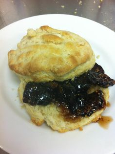Buttermilk buscuit with fig compote.
