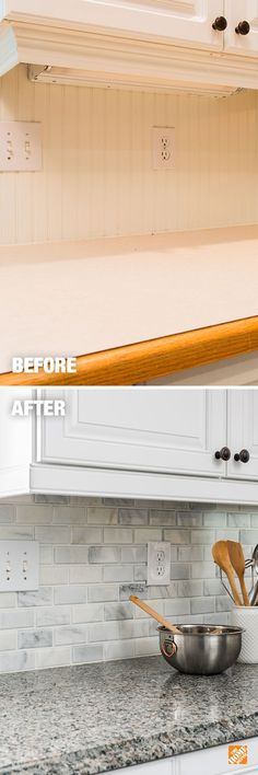 Cabinet refacing, new countertops and a new backsplash can be all you need to create your dream kitchen. The Home Depot can help you achieve great results like you see here in your kitchen upgrade. Click through to see how refacing transformed this kitchen. And when you're ready, schedule a free in-home consultation. #cabinetrefacing