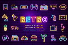 Ad: Retro Neon by Anna_leni on Retro Neon. Good choice for use in websites, prints, posters, applications and Neon Design, Graphic Design, Retro Bangs, Template Brochure, Neon Logo, Best Icons, Iphone Icon, Glow Party, Estilo Retro