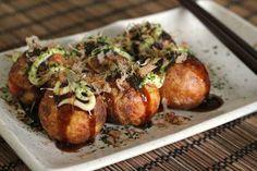 Japanese food Takoyaki. Tako = Octopus