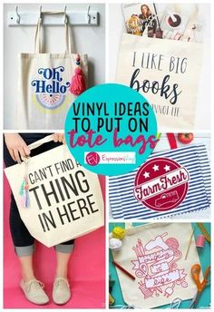 Tote bag with vinyl roundup! Diy Tote Bag, Reusable Tote Bags, Tote Bags For College, Textiles, Vinyl Projects, Craft Projects, Cricut Vinyl, Canvas Tote Bags, Canvas Totes