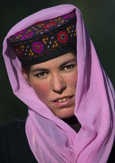 Tajik Woman with pink scarf, Xinjiang Uyghur Autonomous Region, China by Eric Lafforgue, via Flickr
