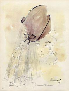 Caroline Reboux (Millinery) 1946 Jean Moral by Jean Moral | Hprints.com