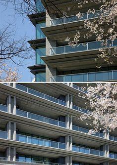 Condominium [The Parkhouse Gran Chidorigafuchi] Condominium Architecture, Facade Architecture, Residential Architecture, 1st Apartment, Design Awards, Balcony, Cool Designs, Exterior, Building