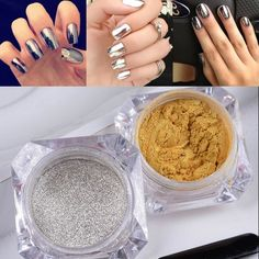 2g MIRROR POWDER CHROME EFFECT NAILS PIGMENT TREND GOLS/SILVER DUST +FREE GIFT #UnbrandedGeneric