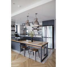 아파트·주택 인테리어 디자인, 카민디자인 정보 포트폴리오 제공 Kitchen Dinning, New Kitchen, Kitchen Interior, Diy And Crafts, Loft, Table, House, Furniture, Design